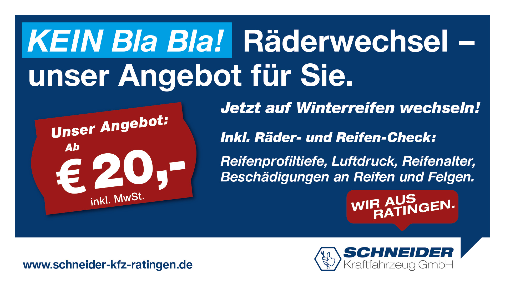 Schneider Kfz GmbH – Räderwechsel - Winterreifen ab 20 Euro